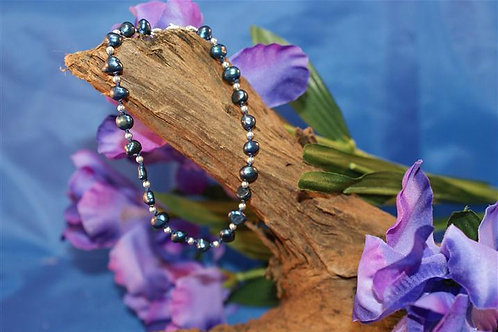 Blue Freshwater Pearl and Silver Bead Bracelet
