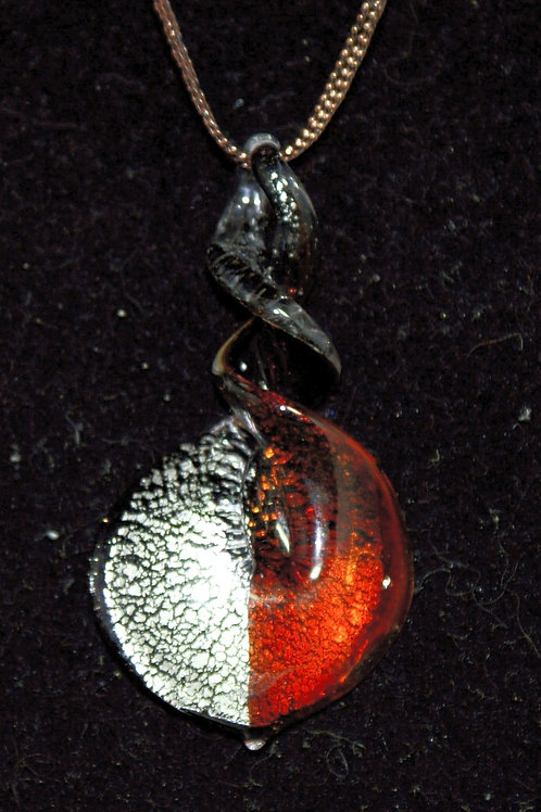 Red & Silver Twisted Top Drop PENDANT ONLY