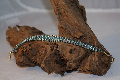 Teal & Crystal SuperDuo Bead Bracelet