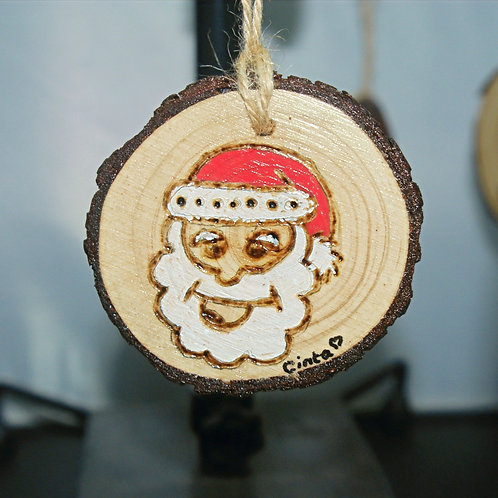 Santa  - Pyrography Tree Decoration