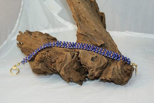 Blue, Gold & Violet SuperDuo Bracelet