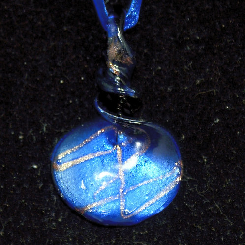 Royal Blue & Gold Twisted Top Drop PENDANT ONLY