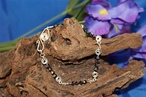 Swirled Black Crystal Bracelet
