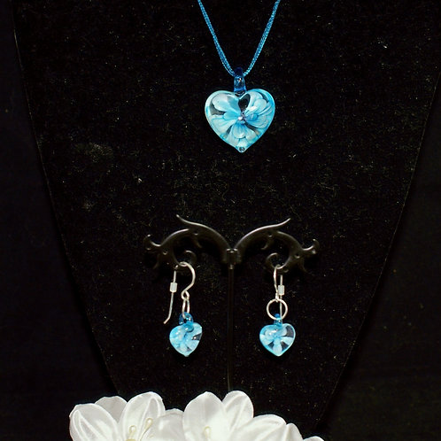 Turquoise Flower Heart Set