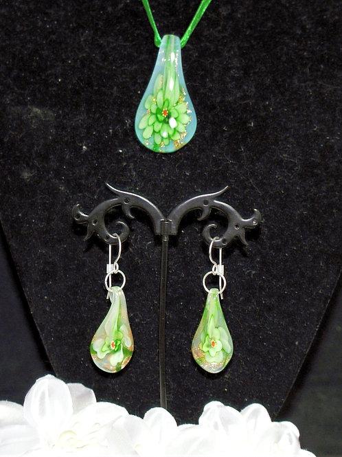 Green Flower Droplet Set