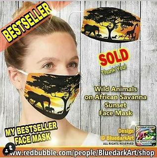 Wild Animals on African Savanna Sunset F