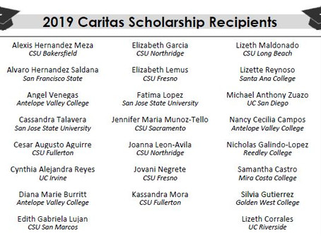 2019 Caritas Scholarship Winners Announced!
