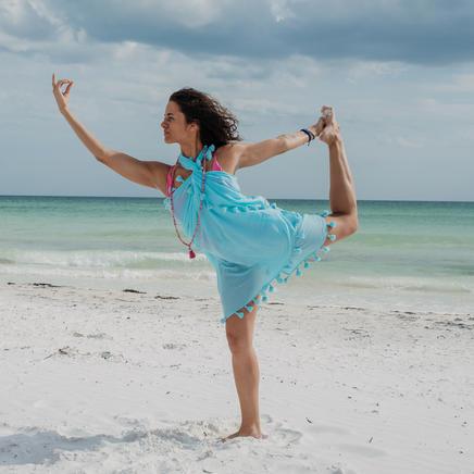 Shanti Tassel Shawl in aquamarine