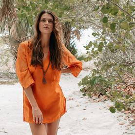 Saffron Cotton-silk Arashi Tunic