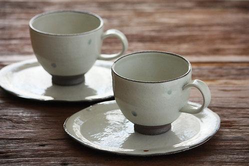 Polka dot pottery cup&saucer ドットカップ&ソーサ―