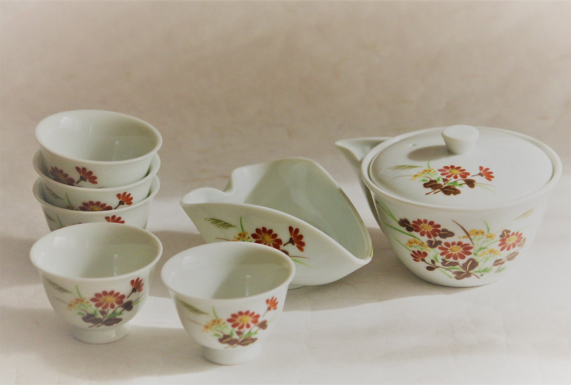 Tea pot and cups for Gyokuro 玉露茶器セット(菊)
