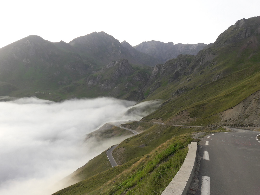 Pyrenees, Col du Tourmalet, blanket of cloud, above the clouds
