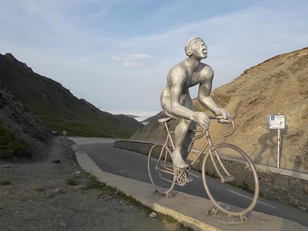 Géant du Tourmalet, Col du Tourmalet, Pyrenees, mountains, golden hour, statue, road cycling