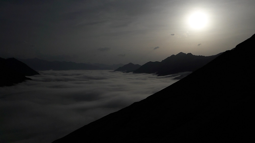 Pyrenees, Col du Tourmalet, sunset above the clouds