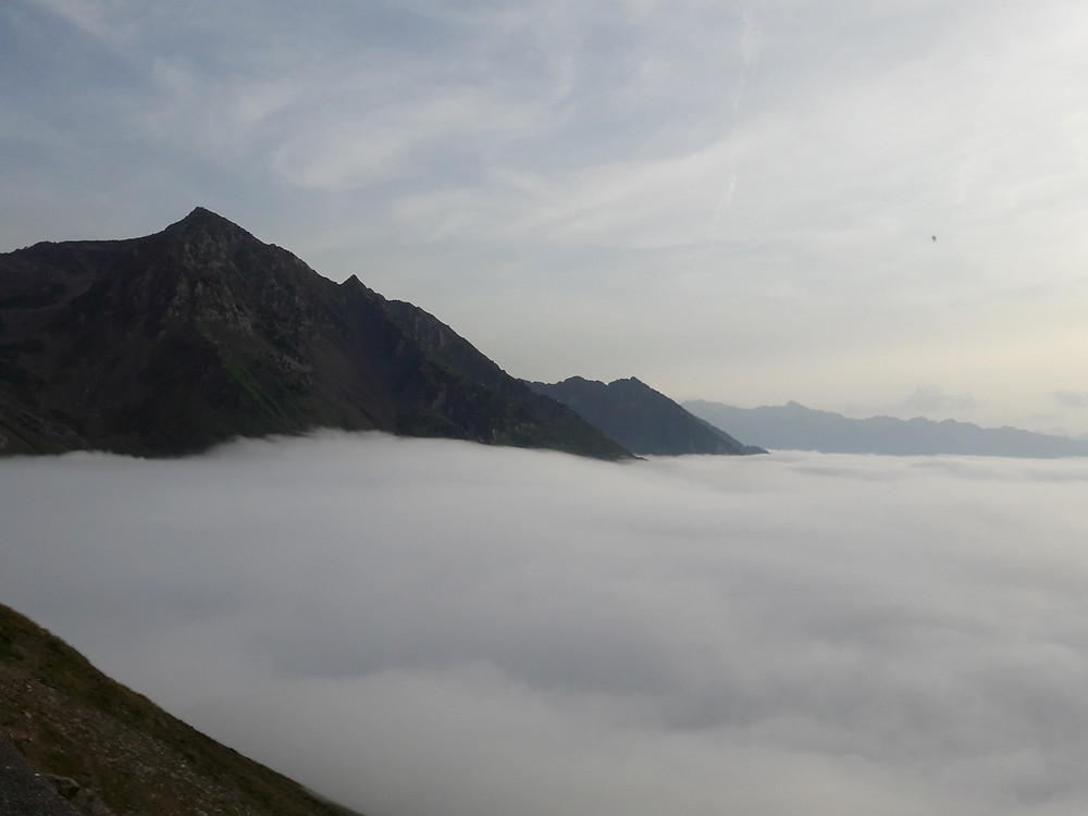 Pyrenees, Col du Tourmalet, above the clouds, blanket of cloud, sunset