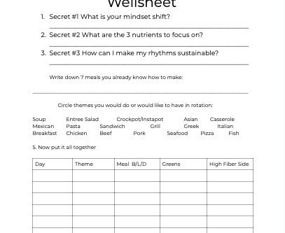 A Free Meal Planning Worksheet