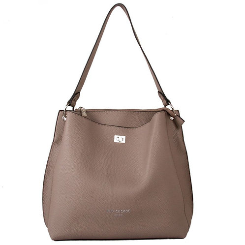 Taupe Shoulder Bag with Clasp Fastener by Red Cuckoo London