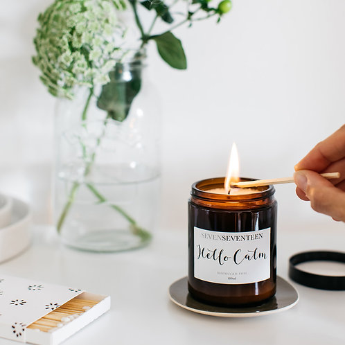 """Hello Calm"" Moroccan Rose Soy Candle"