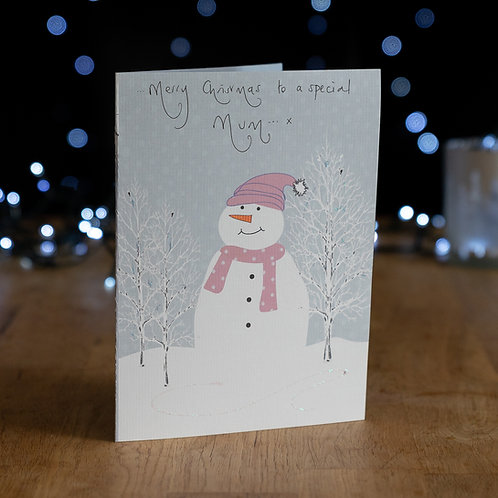 Traditional Snowman in Snowy Wood Design