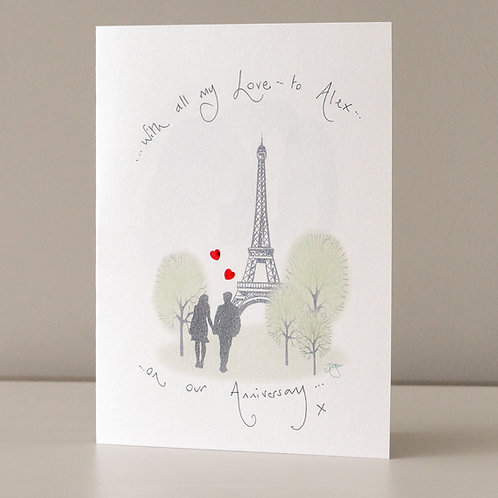 Couple in Paris with Red Hearts