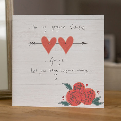 Red Hearts and Roses Design Large Square Card
