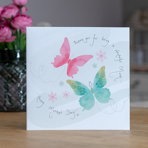Watercolour Butterfly Design Large Square Mother's Day Card