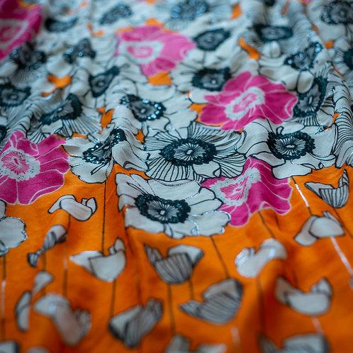 Silver Detail Scarf - Pink/Orange