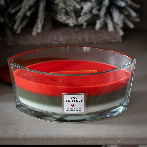 Woodwick Winter Garland Trilogy Oval Candle