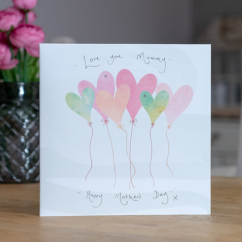 Watercolour Balloons Design Large Square Mother's Day Card