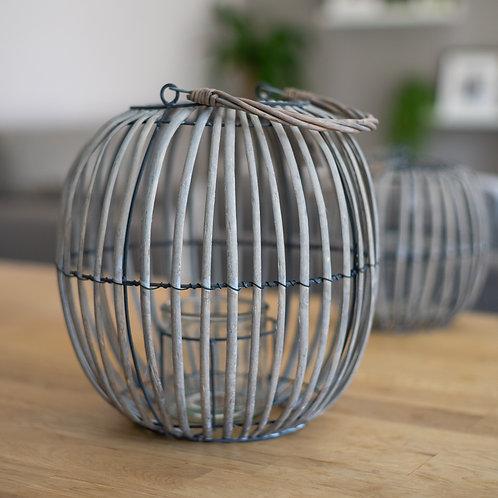 Grey Wicker/Glass Balloon Tea Light Holder - Large