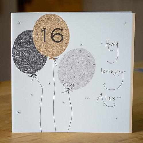 Sparkle Balloons Age 16 Design - Large Square Personalised Card