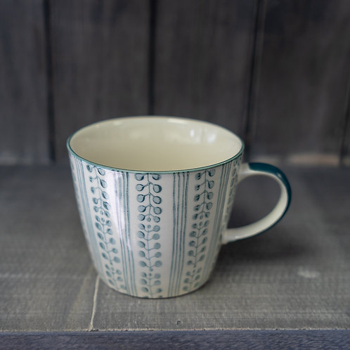 Grey Stripe Berry Ceramic Mug by Gisela Graham
