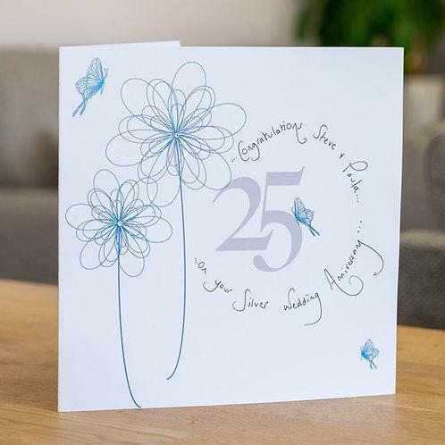25th Anniversary Swirly Flower Design