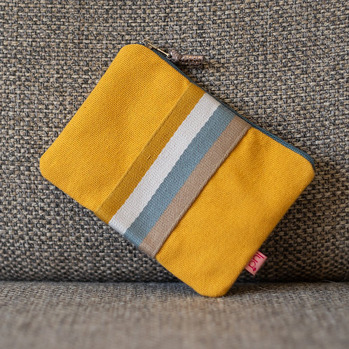 Applique Striped Design Coin Purse - Ochre
