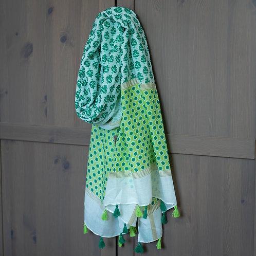 Tassel Detail Scarf - Green