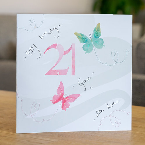 Watercolour Butterfies - Age 21 - Large Card