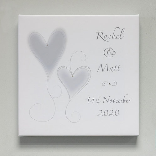 Silver Hearts Personalised Canvas