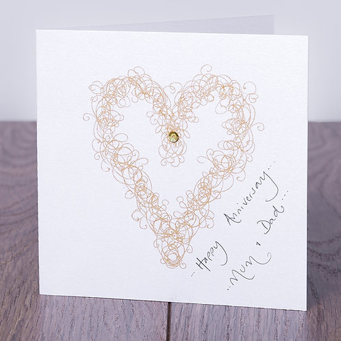 Sparkly Gold Swirly Heart