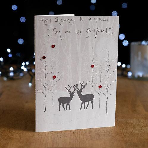 Two Deers in a Snowy Wood Design