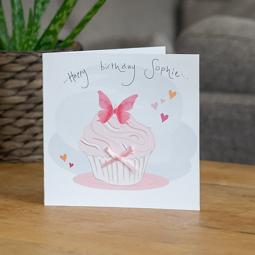 Watercolour Cupcake and Butterfly Design
