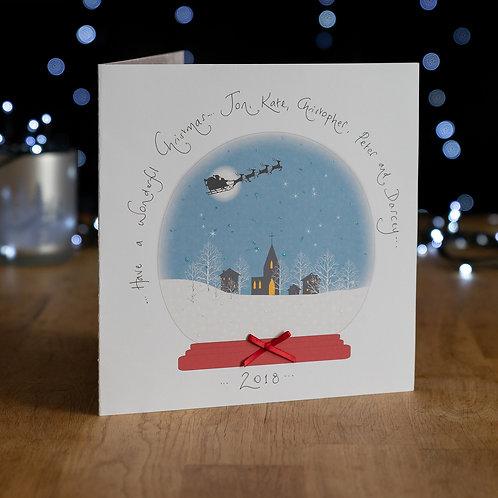 Snow-globe - Santa Flying Over a Village Design - Large Card