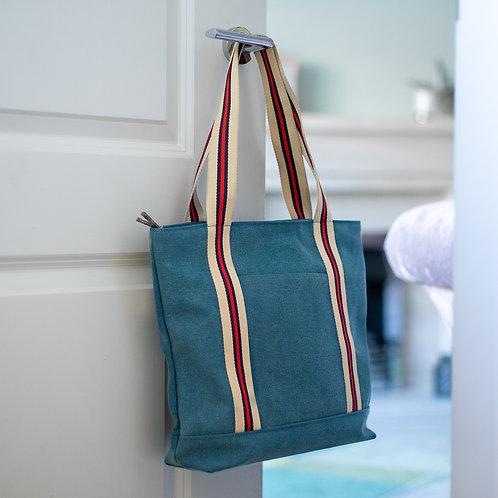 Applique Striped Design Shoulder Bag - Blue