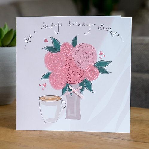 Pink Roses and a Coffee Design - Large Card