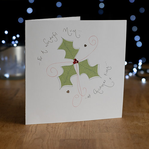 Christmas Holly Design - Large Card