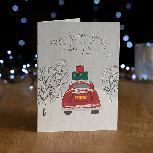 Car in the Snow Carrying Presents Design