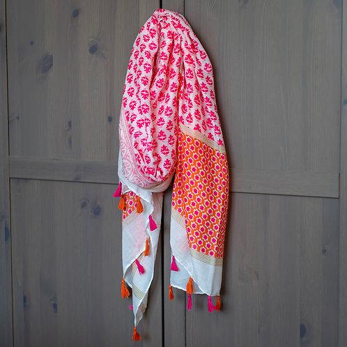 Tassel Detail Scarf - Pink/Orange