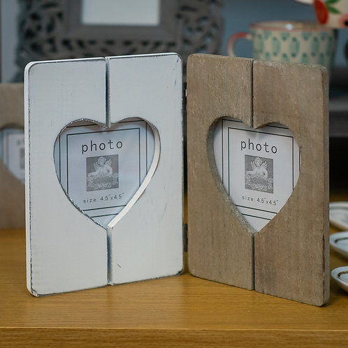 Distressed Wood Double Heart Photo Frame for 4.5x4.5 Prints