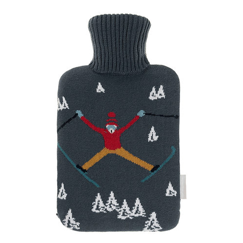 Skiing Knitted Hot Water Bottle by Sophie Allport