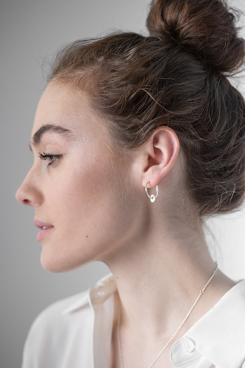 Sterling Silver Hoop Studs With Silver Tolvan Charm