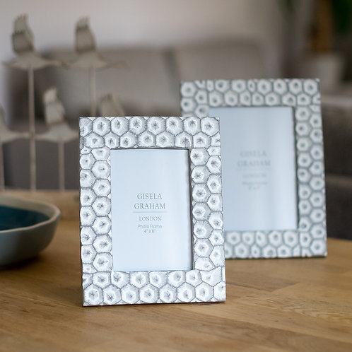 Grey Resin Crater Design Photo Frame 6x4